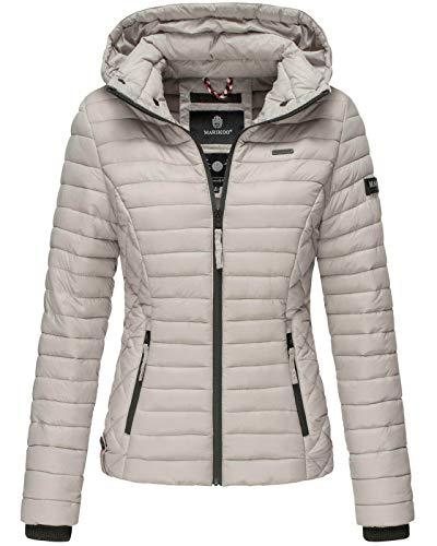 Marikoo Damen Jacke Steppjacke Übergangsjacke mit Kapuze gesteppt B600 (Small, Hellgrau)