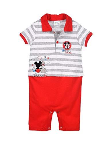 Barboteuse Polo bébé garçon Disney Mickey Bleu et Rouge de 3 à 18mois - Gris/Rouge, 3 Mois