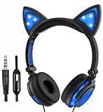 Auriculares de Gato para niñas y niños, LED Intermitentes con micrófono en la Oreja Universal con Cable estéreo de 3,5 mm para Ordenador, Tableta, teléfonos móviles (Azul)