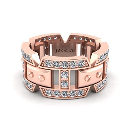 Jbr - Anillo de compromiso de plata de ley con vástago dividido mecánico para hombre, anillo de compromiso unisex