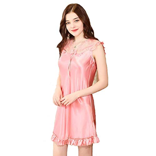 Dames nachthemd slaapjurk pyjama sexy nachthemd jurk dames satijn O jongen chic halsjurk kanten korte mouwen locker lang warme sche onderwarmte sche nacht warme badjas