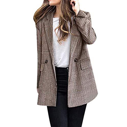 Alikey Damesjas, winterjas, lange mouwen, geruit, lange mouwen, voor vrouwen, outwear