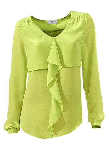 Heine Damen-Bluse Satinbluse Grün Größe 36