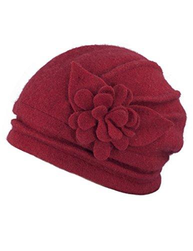Dahlia Women's Winter Hat - Wool Cloche/Bucket Hat, Slouch, Flower, Red