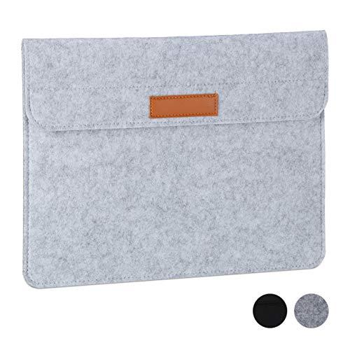 Relaxdays Laptophoes, 13 inch, vilt, beschermhoes laptop en notebook, 4 vakken, laptoptas, 27 x 35,5 x 2 cm, lichtgrijs, 1 stuk