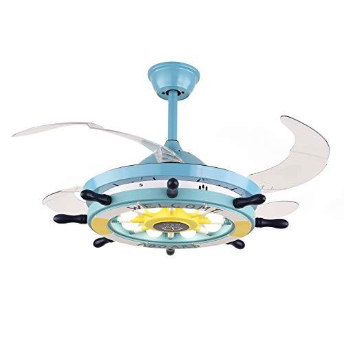 Ventilador de techo con iluminación y mando a distancia, silencioso, diseño de ancla náutica, luz regulable, lámpara de techo con 4 cuchillas retráctiles, lámpara de techo para salón (azul)