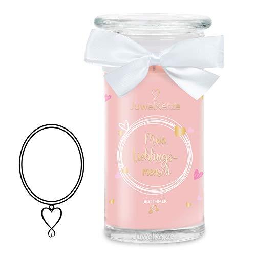JuwelKerze 'Mein Lieblingsmensch' (Halskette) Schmuckkerze große Rosa Duftkerze 925 Sterling Silber - Kerze mit Schmucküberraschung als Geschenk für sie