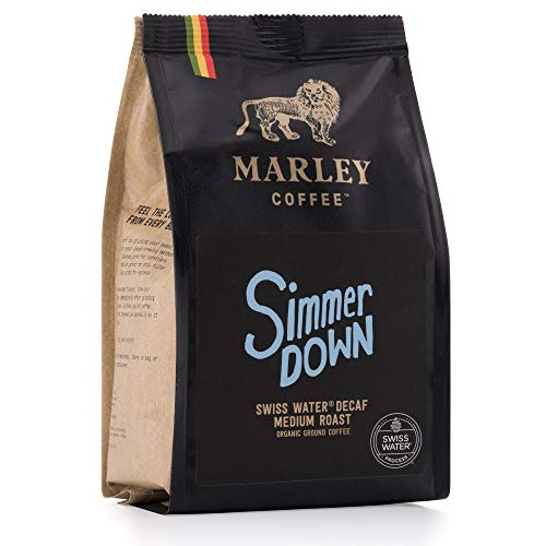 Entkoffeinierter kaffee gemahlen, Simmer Down Decaf Organic Bio Decaffeinated Coffee, Swiss Water Decaf, Marley Coffee, aus der Familie von Bob Marley, 227g ground coffee