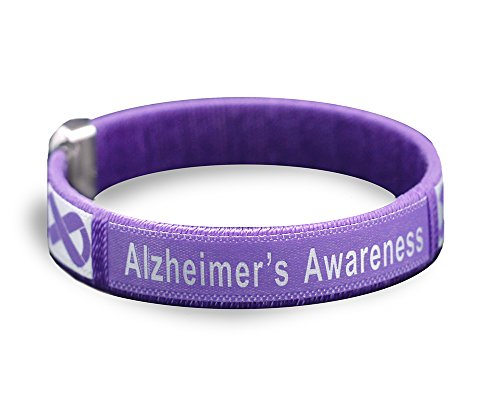 Fundraising For A Cause | Alzheimer's Purple Bangle Bracelet - Purple Ribbon Awareness Bracelet for Alzheimer's Disease (1 Adult Bracelet - Retail)