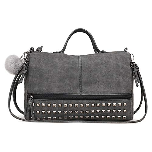Kuang Women Barrel Studded Hobo Handbag Top Handle Satchel Rivet Crossbody Purse Tote for Ladies