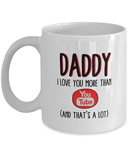 N\A Divertida Taza de café de 11 oz para papá, te Amo más Que Youtube, Humor único