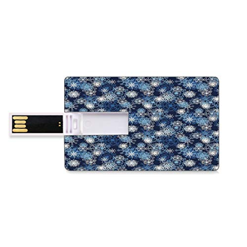 8GB Unidades Flash USB Flash Invierno Forma de Tarjeta de crédito bancaria Clave Comercial U Disco de Almacenamiento Memory Stick Varios Copos de Nieve Adornados Diferentes Ventisca Temporada fría Te