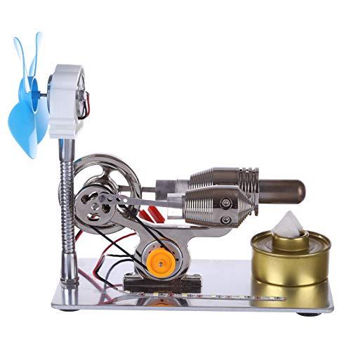 YDDY Fertiges Stirlingmotor Modell Gamma-Form Einzelzylinder Generator Stirling Engine Kit mit LED-Leiste und Ventilator Stirlingmotor Modell DIY Physik Unterricht Spielzeug