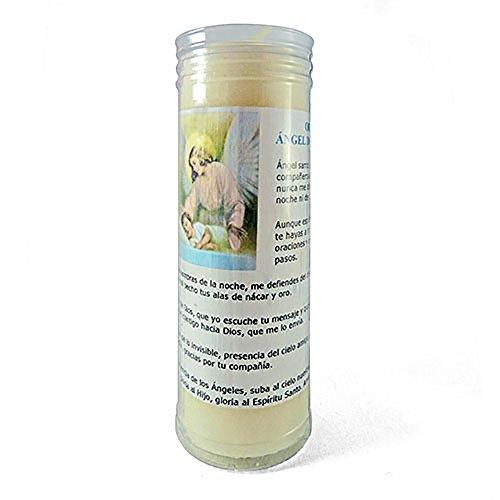 Velón esotérico Ángel de la Guarda- Tamaño 14 x 5,5 cm- Vela con Oración incluida de 3 días.
