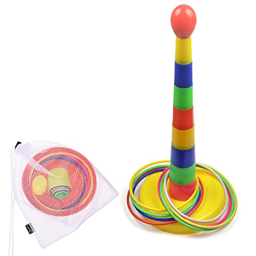 Cosmos Colorful Plastic Detachable Sport Ring Toss Game Set with Carrying Mesh Bag