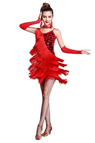 ZX Women's Dancewear Sequin Fringe Tassel Latin Dance Dress 4/5 Pieces Outfits, Red_5, Large