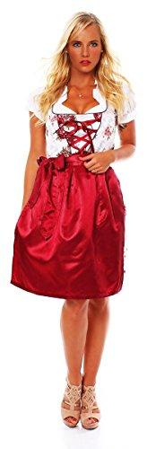 Fashion4Young 10593 Damen Dirndl 3 TLG.Trachtenkleid Kleid Mini Bluse Schürze Trachten Oktoberfest (40, Dunkelrot Weiß)