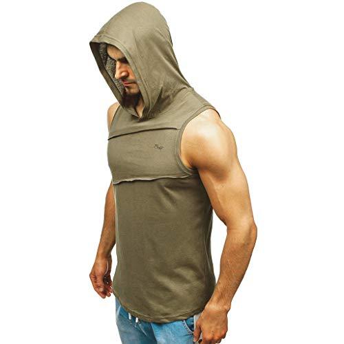 Xniral Herren Ärmellos T-Shirt mit Kapuze Bodybuilding Dicht trocknende Tops Muskel Fitness Weste Shirt Einfarbig Schnell Trocknend(b Armeegrün,S)