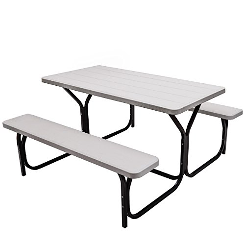 Giantex Picnic Table Bench Set Outdoor Camping All Weather Metal Base Wood-Like Texture Backyard Poolside Dining Party Garden Patio Lawn Deck Large Camping Picnic Tables for Adult (White)