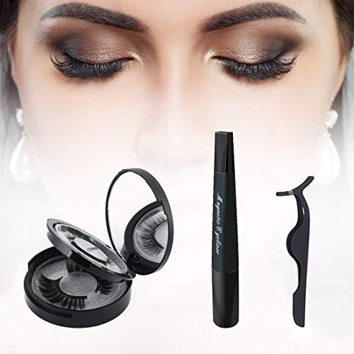 Magnetische Wimpern, Magnetic Eyelashes Kit, Magnetic Eyeliner, 5 Magnete Wasserdichter 3D Künstliche Magnetische Wimpern