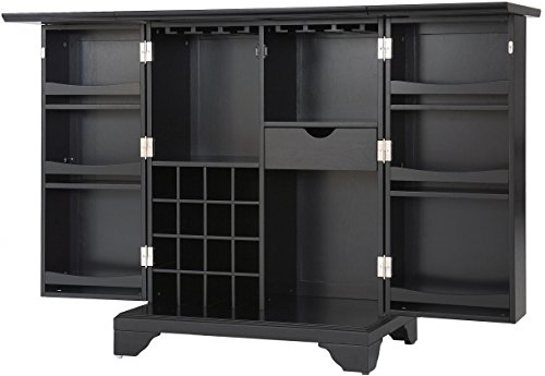 Crosley Furniture LaFayette Expandable Top Bar Cabinet, Black