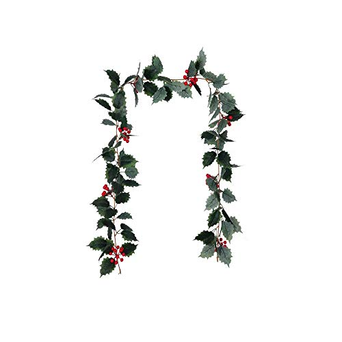 GOCROWN 5.7 FT Christmas Greenery Holly Leaves and Red Berries Garland for Home and Party Decor