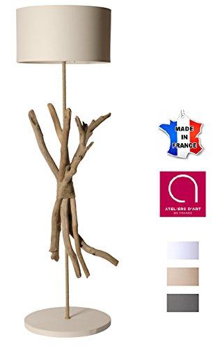 Lampe à pied artisanale en bois flotté naturel ECUME - Fabriqué à la main par un artisan Français - 100% matériaux naturels