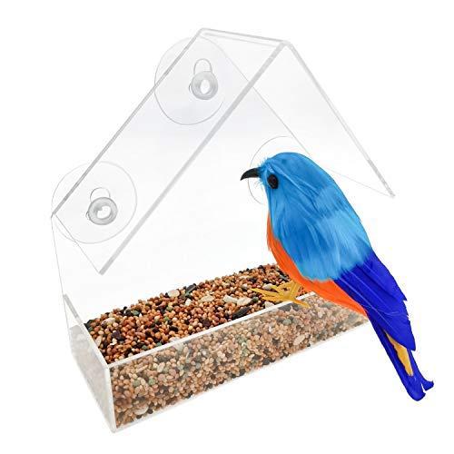 Lanscoee鳥用 バードフィーダー 吸盤 鳥用フードフィーダー ペットボトル 野鳥 窓 餌やり 餌入れ 鳥 給餌器 巣箱 餌台 透明 無毒 衛生 小型動物 小鳥 野鳥 鳥かご ケージ 軽量 アクリル製 (15*6*15cm)