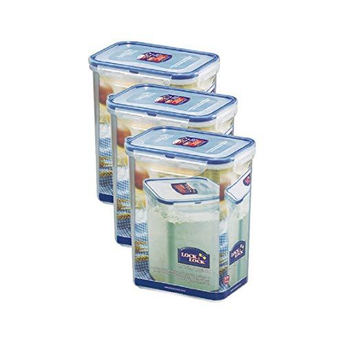 ZIP Premium Frischhaltebox | Multifunktionsbox | Frischhaltebehälter | Mehldose | Inhalt: 1,8 Liter, spülmaschinengeeignet | Lock&Lock HPL813 3er Set