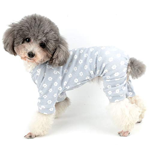 Ranphy Hunde-Pyjama, süßer Baumwoll-Overall mit Gänseblümchen-Motiv, weich, bequem, 4 Beine, Kleidung, Haustier-Outfits, Nachthemd für Hunde, Blau, Größe XXL