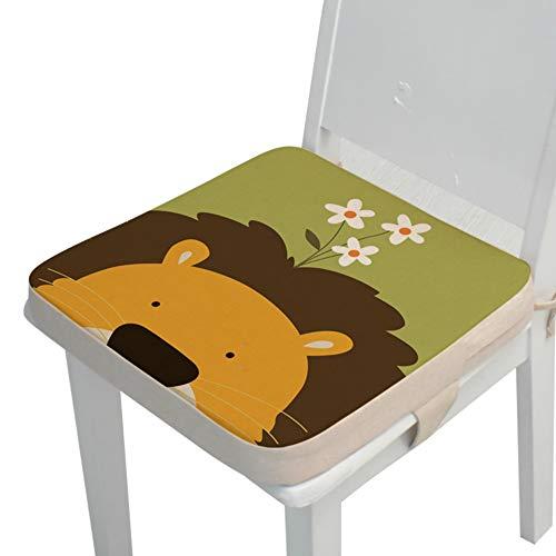 Kinder Sitzkissen Sitzerhöhung Stuhl, Fansu Baby Tragbar Sitzkissen Cartoon Design Quadratische Verstellbar Zerlegbar Kleinkinder Esszimmerstuhl ErhöHen Pad Esszimmer Boostersitze (Löwe,40*40*5cm)