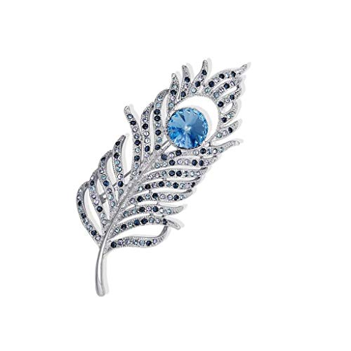 ZWSHOP Broche de cristal con plumas para mujer, material de aleacin, vestido de decoracin occidental, caja de regalo, multicolor opcional (color: azul cielo)