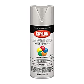 Krylon K05589007 COLORmaxx Spray Paint and Primer for Indoor/Outdoor Use Metallic Satin Nickel