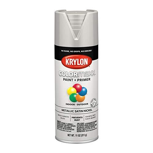 Krylon K05589007 COLORmaxx Spray Paint and Primer for Indoor/Outdoor Use, Metallic Satin Nickel