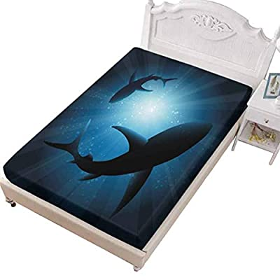 SoSung FULL Size Fitted Sheet Lightweight Soft Microfiber Shark Giant Underwater,Giant Whale Shark and Underwater Photographer in Wildlife Diving,Eco Friendly Wrinkle Free Sheets Washable Home Bedding