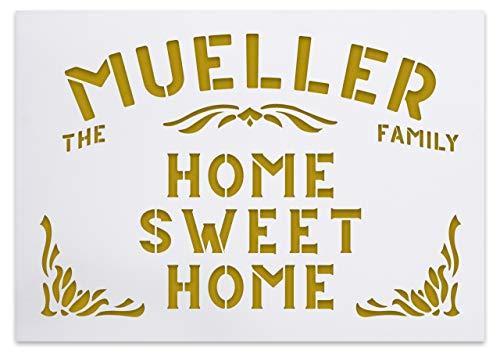 Home Sweet Home - Namen Schablone mit Ornamenten