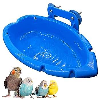 Douche Pour Cage à Oiseaux Bol Mangeoire Pour Perroquet Bain Douche Perroquet Salle Bain Cage à Oiseaux Accessoires Pour Oiseaux Pour Pet Medium Perroquet Perruche Cockatiel Conure Perroquets Bleu