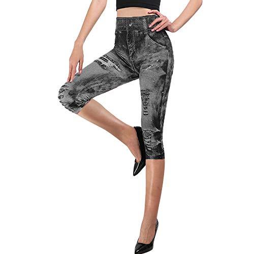 Vertvie Damen 3/4 Jeansleggings Denim High Waist Destroyed Style Stretch Skinny Hose Capri Jeggings Jeansoptik Shorts Freizeithosen Funktionshosen(Schwarz, M)