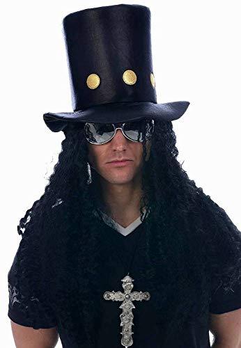 shoperama Sombrero cilíndrico Rockstar con pelo largo negro Heavy Metal Sombrero Adulto