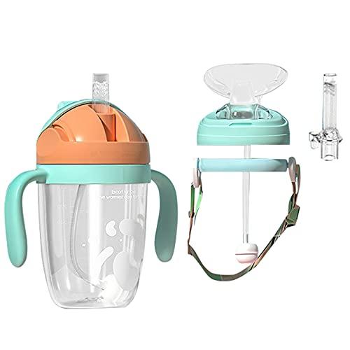 Niños Vasos con Boquilla Biberón Set Para Bebés Trainer Cup Botella Infantil con Pajita Taza con Asas Diseño Ergonómico Taza Medidora a Prueba de Fugas 300ML Sin BPA