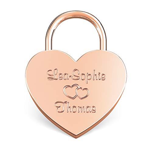 LIEBESSCHLOSS-FACTORY Herz-Schloss Rosé-Gold mit Gravur und Schlüssel, gratis Geschenkbox uvm. Jetzt graviertes Liebes-Schloss in Herzform gestalten!