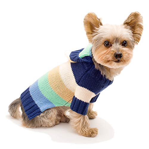 Stinky G Happy Stripes Hoodie Dog Sweater Blue Size #08