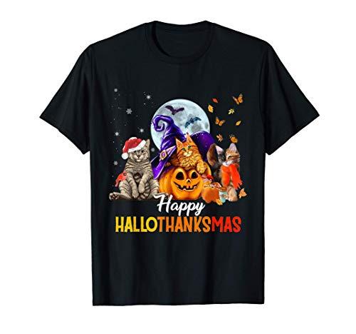 Happy Thanksgiving Cat Happy Hallothanksmas Cute Cats T-Shirt