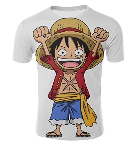 CHENGNT T-Shirts 3D Printen Een Stuk Luffy Wit Coltrui Korte Mouw Jeugd Student Sport Casual Ronde hals Korte mouw Bodemshirt