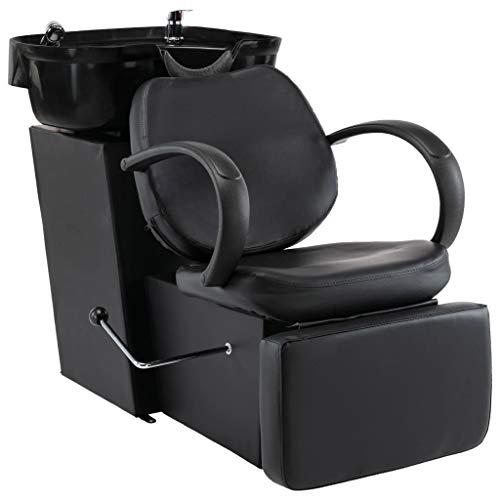 vidaXL Silla Lavacabezas de Peluquería Reclinable Peluquera de Lavado de Cabeza Barberos Lavacabezas Belleza Cuero Sintético Negro
