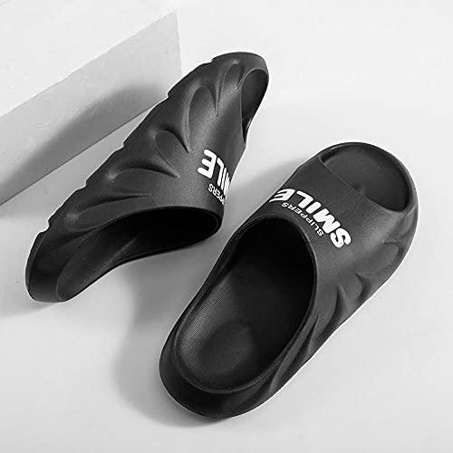 Yumanluo Hombre Verano Zapatillas Flip Flops Sandal Zapatos de Playa y Piscina,Zapatillas Pareja Suela Blanda Antideslizante-Negro_40-41