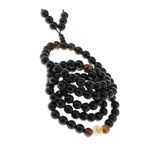 LoveinDIY 8mm Prayer Beads Wrap Bracelets Engraved Zodiac Obsidian Bracelet Luminous Glowing Beads Wristband, Couples Bangle - Rabbit
