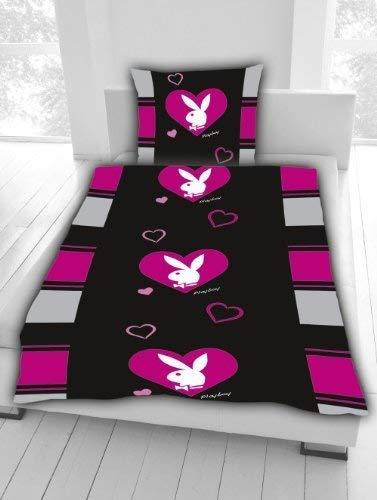 Playboy Bettwäsche Bunny pink/schwarz Herz Sondermodell 135 x 200 cm 100% Baumwolle NEU Wow