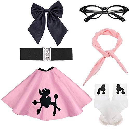 50s Girls Costume Accessory Set - Poodle Skirt,Elastic Cinch Belt,Ponytail Holders,Chiffon Scarf,Cat Eye Glasses,Bobby Socks,Pink