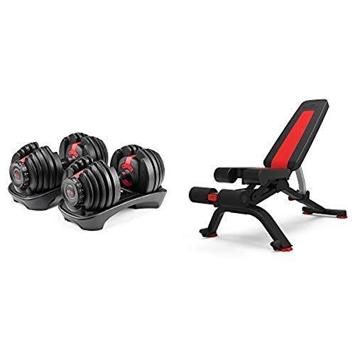 Bowflex SelectTech 552 Adjustable Dumbbells (Pair) 5.1S Stowable Bench